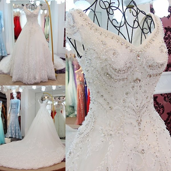 Luxury Beaded Wedding Dresses Long Lace Bridal Ball Gowns High Quality 2017 New Arrival Vestido De Noiva Custom Made Bridal Dress Corset