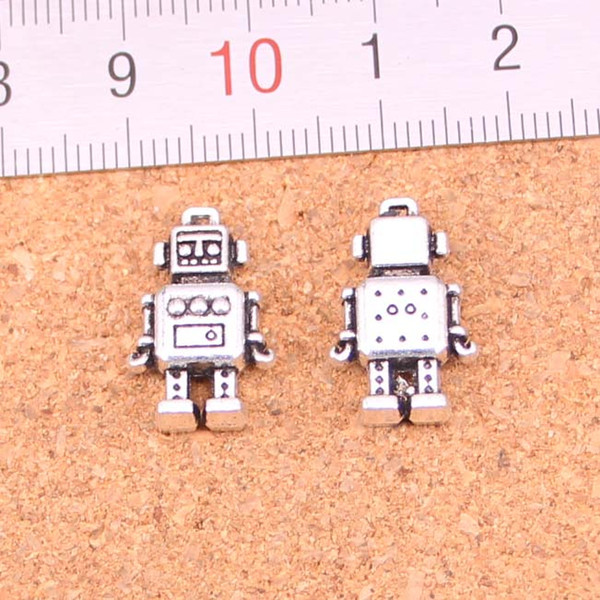 Wholesale 50pcs Fashion Antique silver mechanic robot charms metal pendants for diy jewelry findings 18*11*4mm