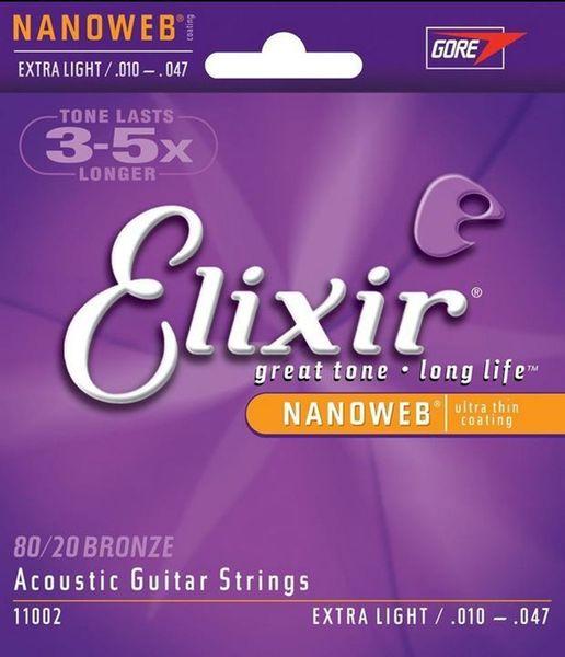 Envío Gratis 5 sets / lote Elixir 11002 Cuerdas de Guitarra Acústica 80/20 Bronce Con NANOWEB Ultra Thin Coating EXTRA LIGHT Accesorios de Guitarra
