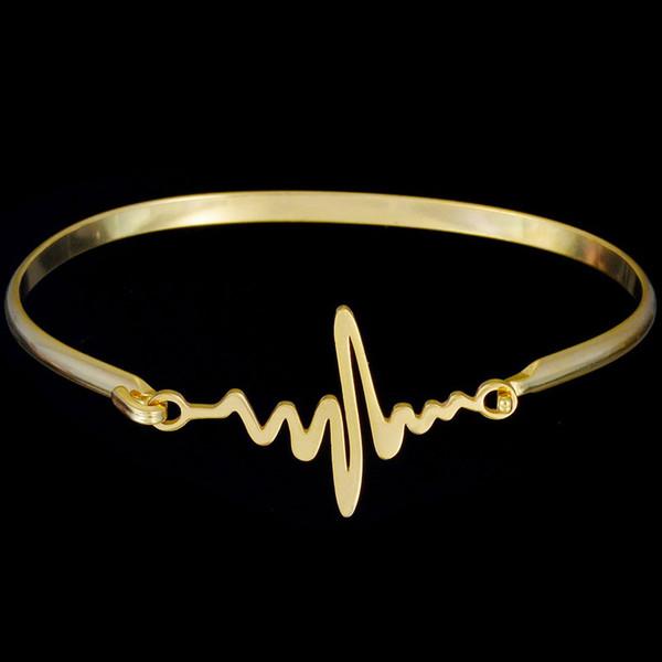 BC Personalized Personal Madri Braccialetti in oro colore 316L in acciaio inox Bracciale battito cardiaco per le donne gioielli regalo