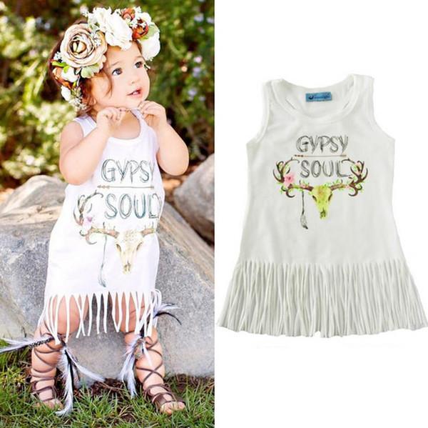 2017 Baby Girls Clothes White Dress Summer Princess Tutu Tassel Vest T Shirt Dresses Printed Flower Deer Kids Cotton Skirt Free Shipping