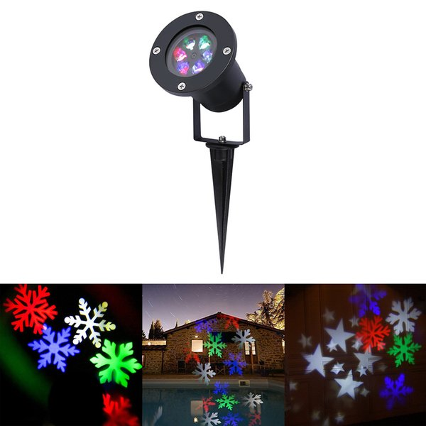 Holiday Decoration Waterproof Outdoor LED Stage Lights LED RGBW Christmas Laser Snowflake Projector lamp Home Garden Star Light