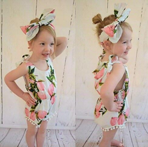 2016 baby girl toddler 2piece set outfits lace tassels 100% cotton floral romper onesie diaper covers + bowknot headband INS hot Lemon