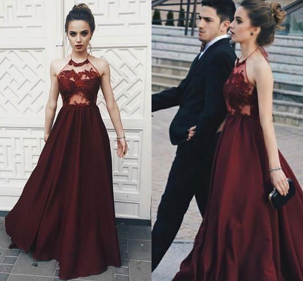 Robes de bal sans dossier en satin rouge foncé Halter Illusion Lace Summer 2K18 robes de soirée pour filles Livraison rapide