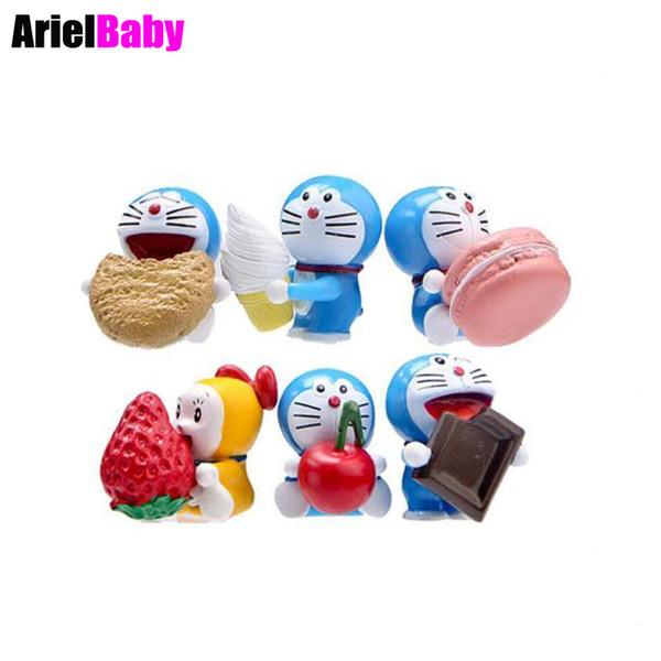OHMETOY 6PCS Doraemon Action Figure Toys Strawberry Chocolate Ice cream Kids Birthday Gift Cake Topper Brinquedos
