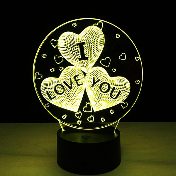 2017 Love Heart I Love You 3D Optical Lamp Night Light DC 5V USB Charging AA Battery Wholesale Dropshipping Free Shipping