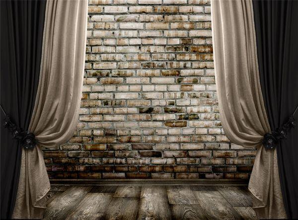 Siyah Çıplak Perde Sahne Fotoğraf Arka Planında Tuğla Duvar Ahşap Zemin Stüdyo Arkaları Vintage Fotoğraf Standında Duvar Kağıdı 10x8 ft