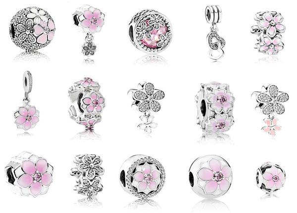 Adatto Pandora Bracciale in argento sterling 925 rosa smalto cristallo di magnolia ciondola perline charms per europeo fascino serpente catena di moda fai da te jewelr