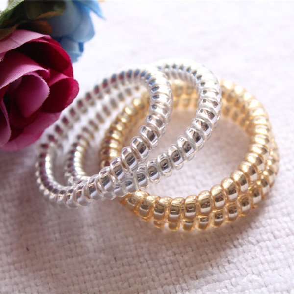 Wholesale- 10x Hot Sell Gold/Silver Elastic Rubber Telephone Wire Hair Rope Ponytail Holder