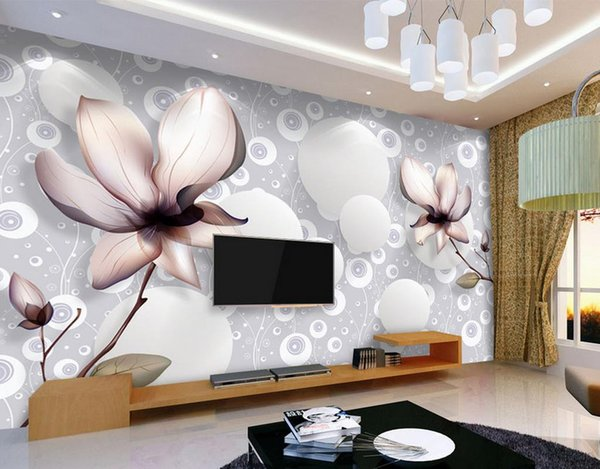Home Decor Living Room Natural Art Beautiful flowers simple three-dimensional 3D TV background wall murals