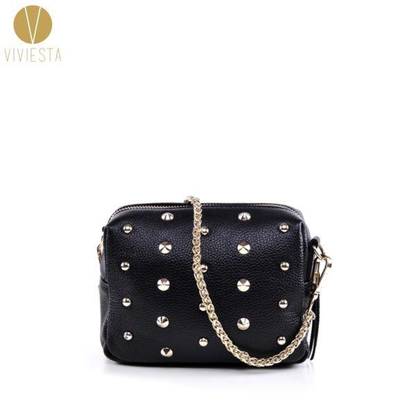 Wholesale- GENUINE REAL LEATHER STUDDED CROSSBODY CHAIN BAG - Women's Vintage Small Black Rivet Spike Stud Crossbody Shoulder Purse Handbag