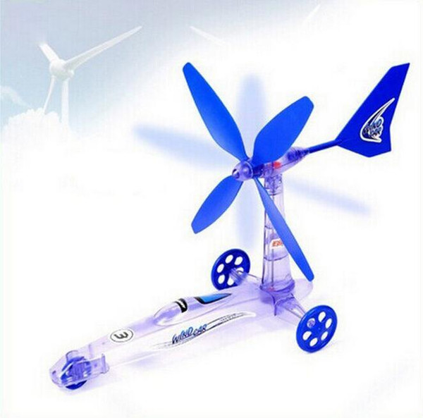 best selling 3pcs lot Educational Toy Wind Power Car Windmill Green Energy DIY Assembly Kit ,Scientific Experiment Toys