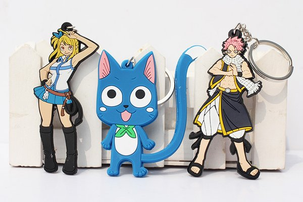 Hot! 20pcs/lot Anime Fairy Tail Lucy Natsu Happy PVC Figures Toys with Keychain