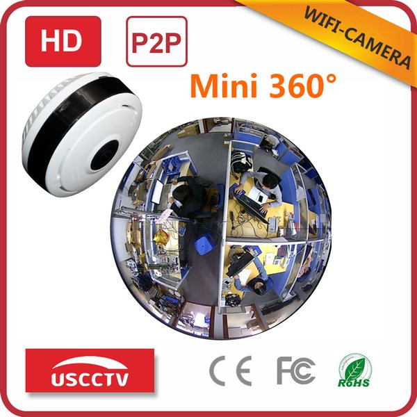 360 Degree Fisheye VR Panoramic IP Camera 1.3 Megapixel 960P Wireless Wifi 2.4GHZ Security Camera Super Wide Angle Support IR Night