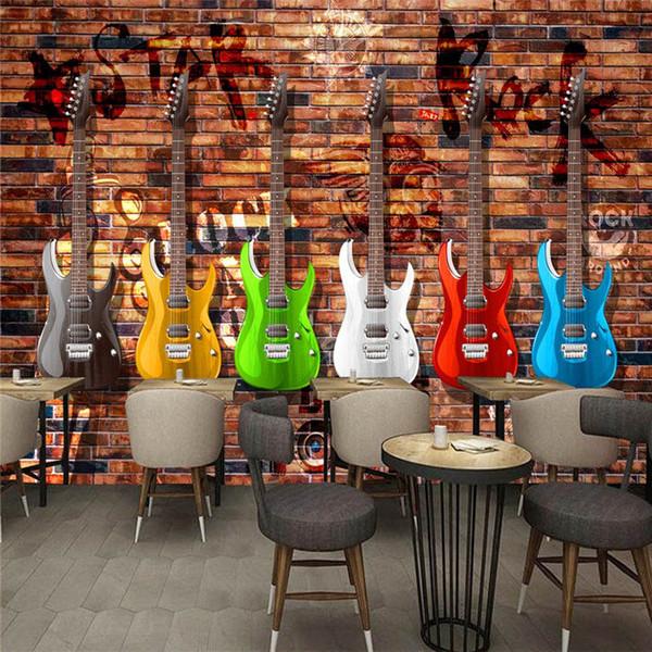 Custom Photo Wallpaper Mural European and American Retro Guitar Brick Wall Bar KTV Mural Background Wall