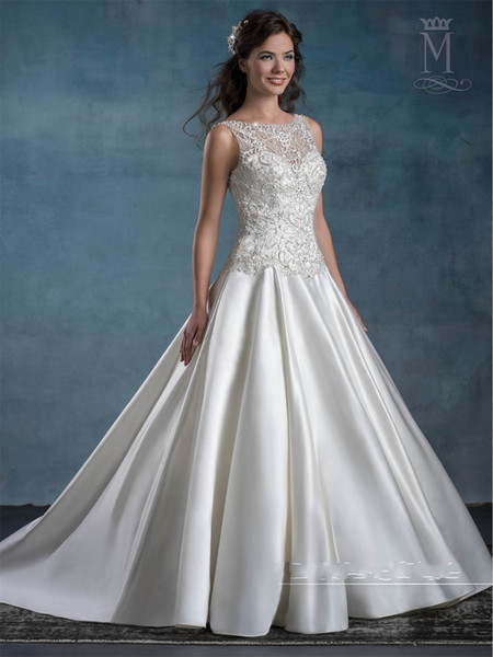 Cheap Wedding Dresses 2017 Mary's Bridal with Dropped Waist and Sexy Open Back Beading Satin Elegant Bridal Gowns Long robe de mariage