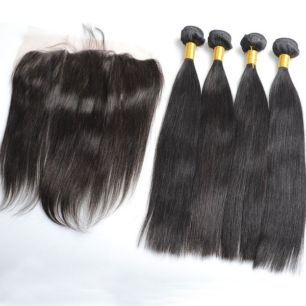 Brazilian Virgin Hair Bundles With Lace Frontal Closure Straight Unprocessed Human Hair Weaves Weft Double Extensions Natural Color 5PCS Lot