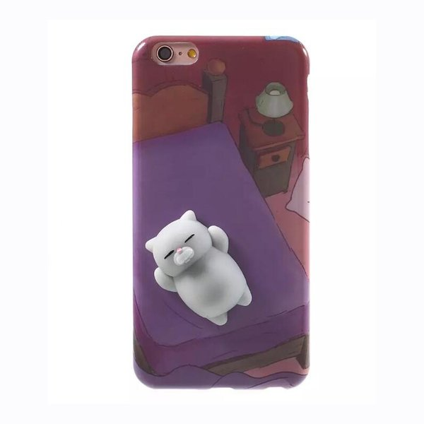 3D de dibujos animados de silicona suave y suave Squishy Panda Squishy Cat fundas caso de la cubierta para iPhone 6 6S 7 Plus cubiertas del teléfono