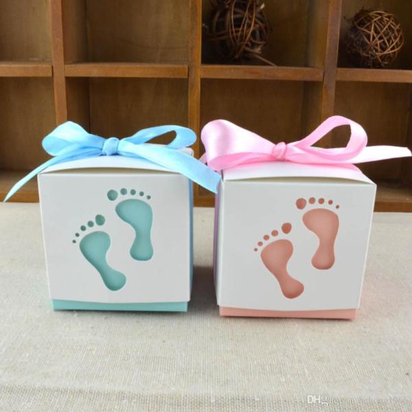 Großhandel Pralinenschachtel Kreative Gravierte Baby Fußabdruck Form Vollmond Hochzeit Geschenk Verpackung Nette Bowknot Süßigkeiten Fall Mit Band 0
