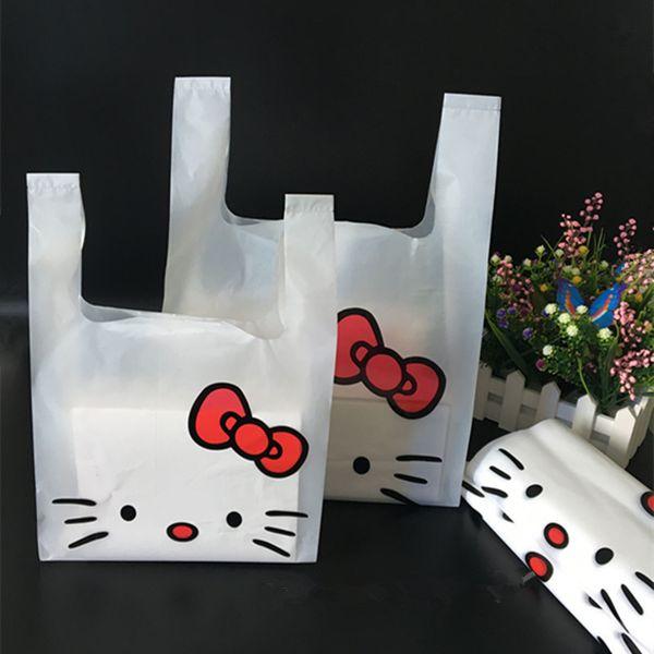 20 * 32 cm 100 adet / grup Şeffaf Plastik Torbalar Alışveriş Çantası Süpermarket Plastik Torba Kolu Ile Hello Kitty Çanta Toptan