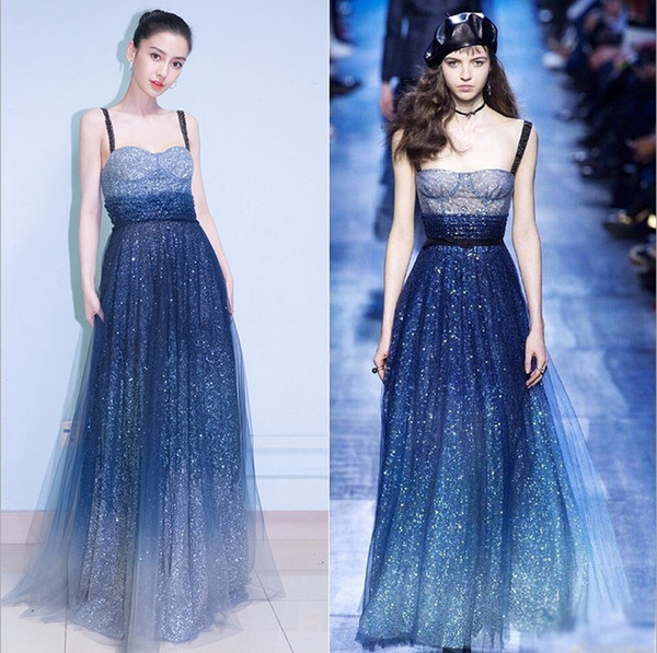 2019 sparkling spaghetti prom dress the same paragraph Star Skirt ladies banquet noble elegant evening dress long party host woman