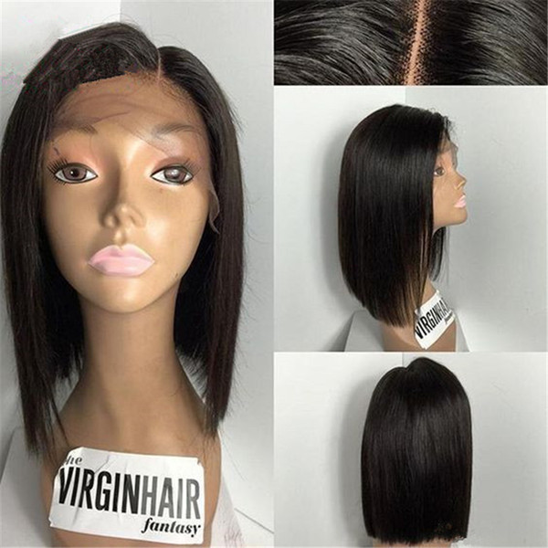 Soft 150% silky straight Middle Part Glueless Full Lace Wig Brazilian Virgin Human Hair Full Lace Front Wigs for Black Women