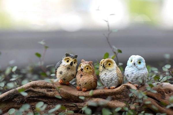 20Pcs/Lot 4 style micro mini fairy garden miniatures figurines Owl birds animal Action Figure Toys ornament 2017 Home