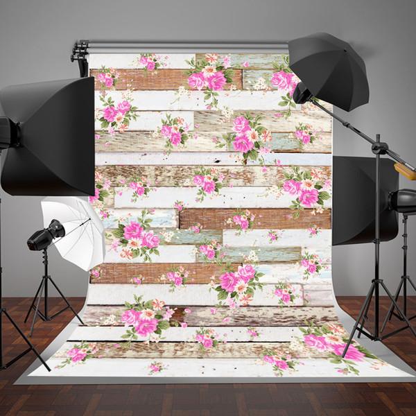 5x7ft (150x200cm) gris et blanc bois mur photographie fond rose fleurs décors papier peint pour bébé photographique