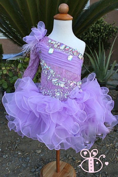 lilac one shoulder lace beads feather hand made flower ball gown cupcake toddler little girls pageant dresses flower girl for weddings glitz