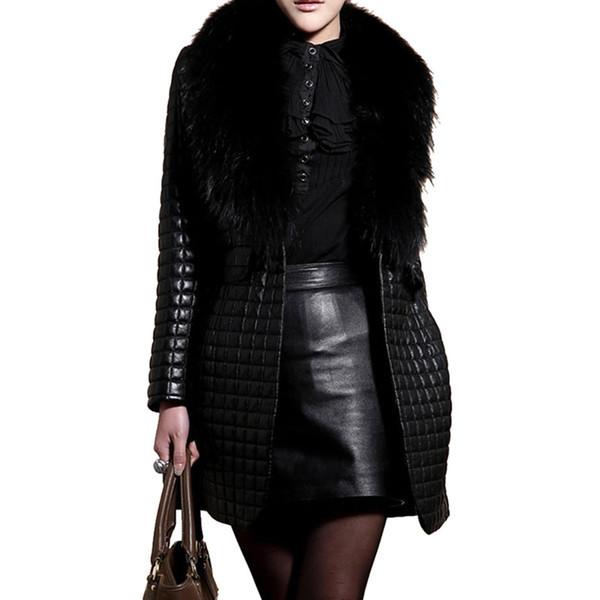 Оптовая-бомбардировщик зима осень мода искусственный мех PU плюс размер женщин пальто высокое качество ювелирных изделий лоскутное черный искусственного меха пальто куртки