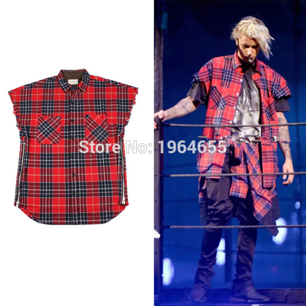 Wholesale- 2017 TOP NEW JUSTIN BIEBER Scotland Red grid stripe side open zipper Men Shirts hiphop FEAR OF GOD Fashion Casual Cotton Shirt