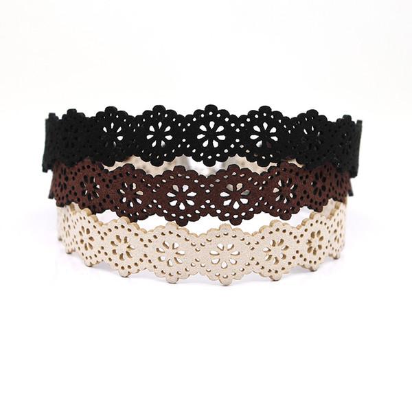New Arrivals Eueropean Style Black Brown Beige Velvet Choker Necklace Wide 17MM Burlesque Gothic Lace Ribbon Necklaces For Women