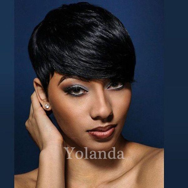 Peruvian Virgin Cut Hair Wig Celebrity Wig Hot Sale Human Hair Wigs Straight Short Cut Pixie Ladies Wig for Black Women
