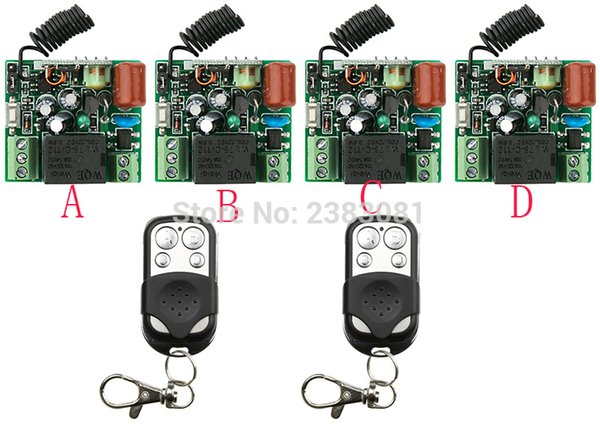 Wholesale- NEW AC220V 1CH 10A Radio Controller RF Wireless Push Remote Control Switch 315 MHZ 433 MHZ teleswitch 2 Transmitter +4 Receiver