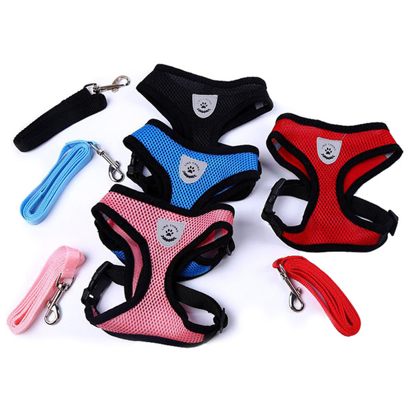 top popular Breathable Mesh Small Dog Pet Harness and Leash Set Puppy Vest Pink Red Blue Black For Chihuahua 2020
