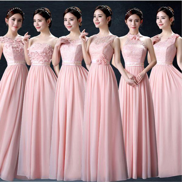 Compre Vestido De Dama De Honor Rosa Pastel Modesta Novia Vestido De Damas De Honor Hermana De La Novia Vestidos Largos Para Mujeres Boda Larga Fiesta