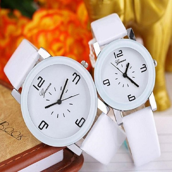 Fashion glue dial leather geneva watch 2016 unisex lovers men women simple design casual white&black dress quartz wrist watches