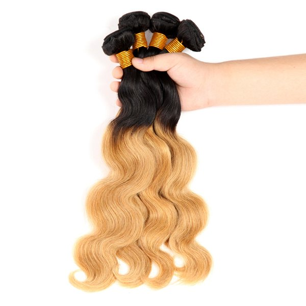 Ombre Brazilian Human Hair Bundles Body Wave Hair Weaves T1b 27 Dark Root Honey Blonde Double Weft Extensions 3pcs 4pcs Lot