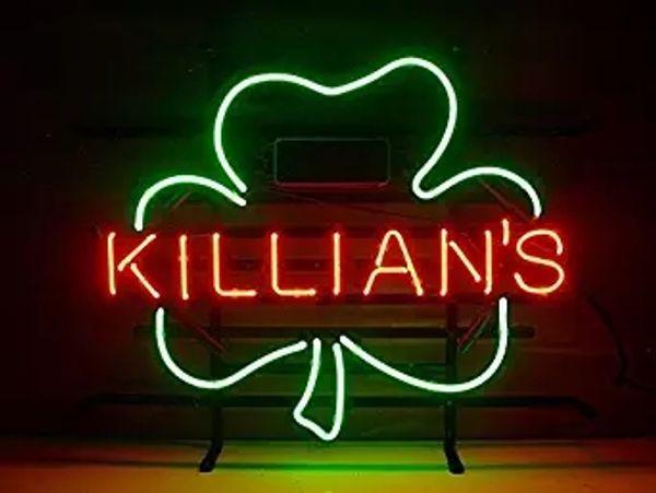 George Killian's Irish Red Shamrock Real Glass Neon Light Sign Home Beer Bar Pub Recreation Room Game Room Windows Sign 18''x14''