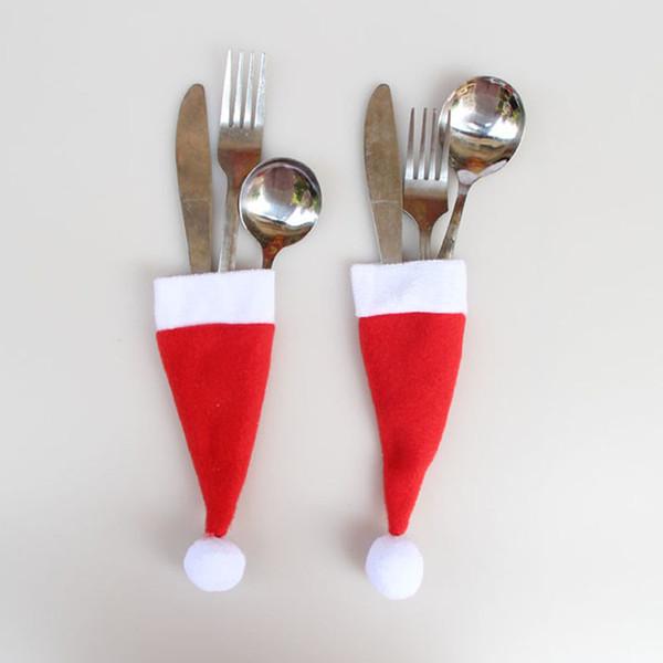 8 Unids / set Titular de Cubiertos de Sombrero de Navidad Mini Decoración de Fiesta de Cubiertos de Santa Claus Rojo 6 * 13 CM 0047