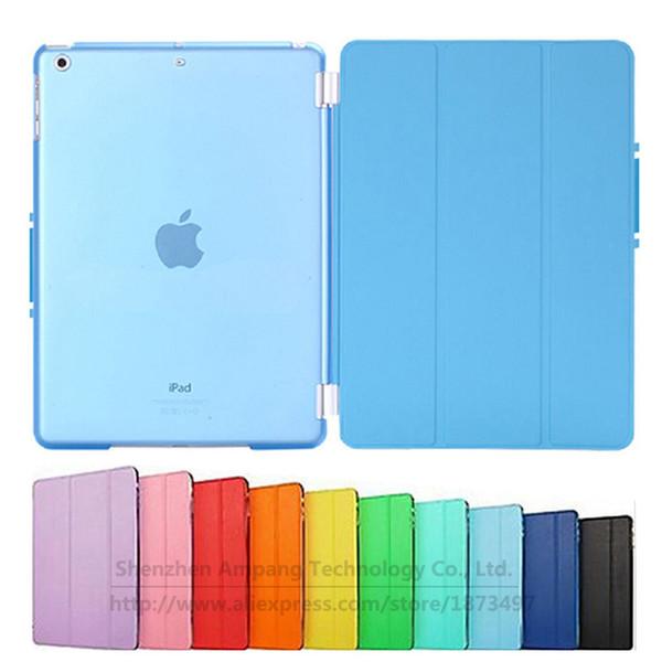 Al por mayor-Crystal Hard Back Split Case para iPad Air Ultra Slim Magnetic PU Funda de cuero inteligente para ipad air / Air1 funda para iPad 5 9.7 pulgadas