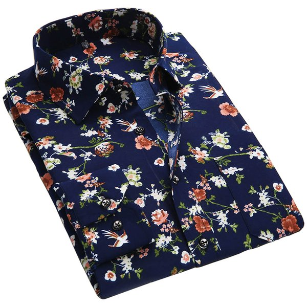 Wholesale- 2017 Spring Floral Print Men Shirts Long Sleeve Mens Casual Shirt Slim Men Flower Printing Dress Shirts camisa masculina