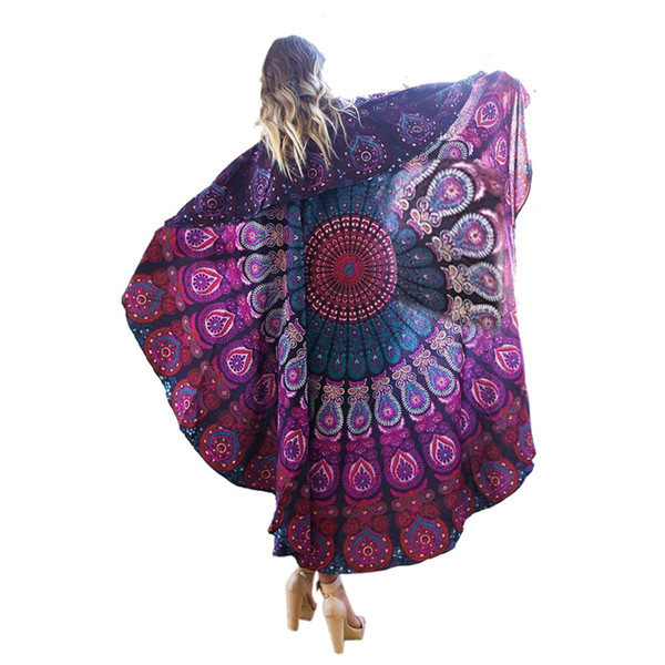 Round Women Beach Cover Ups towel Sexy Beach Wear Pareo Bohemian Chiffon Clock Swimsuit Cover Up Style Bathing Tunic 7 Color 2807013