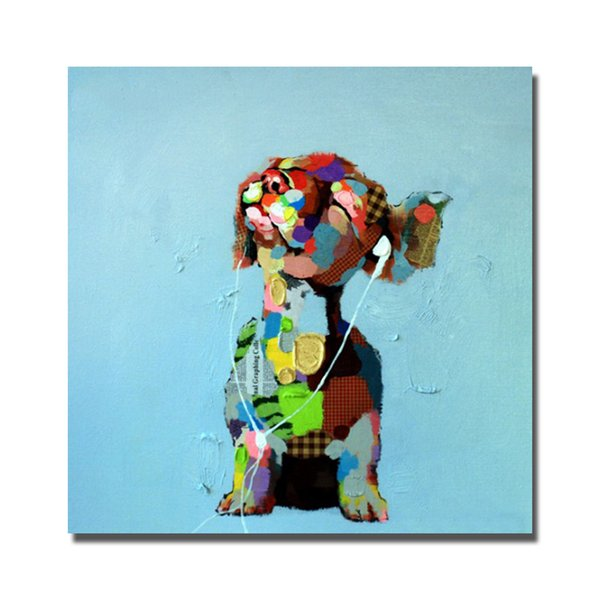 2016 abstract decorative design cartoon dog canvas oil painting by hand painted free shipping painting pictures ideas