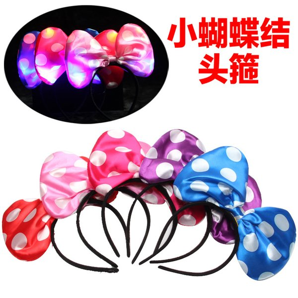 Light cloth bow children New Year gift small hairpin hair jewelry wholesale Decor Mickey hoop