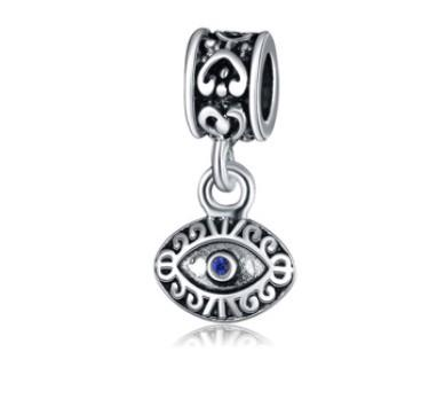 Fits Pandora Charm Bracelet Evil Eye Blue Eye Pendant Beads Sterling Silver Dangle Loose Charms For Diy European Snake Charm Chain Jewelry