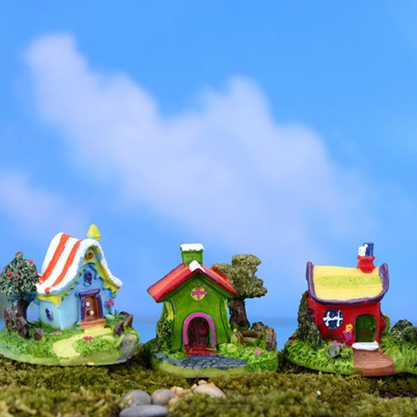 5pcs Kawaii Castle House Resin Craft Fairy Garden Miniatures Succulent Gnomes Bonsai Tools terrarium Figurines Dollhouse Decor Jardin Gnomes
