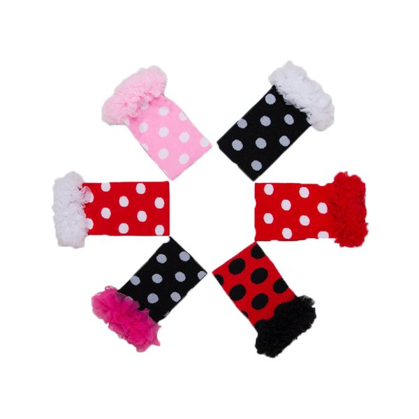 Autumn Baby Girls Leg Warmer Double Chiffon Ruffle Kids Leg Warmer Polka Dots Printed Arm Warm for Kids