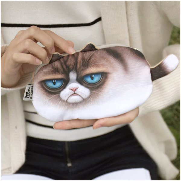 5 styles women coin purses wallet ladies 3D printing cats dogs animal big face change fashion cute small zipper bag 18*12cm