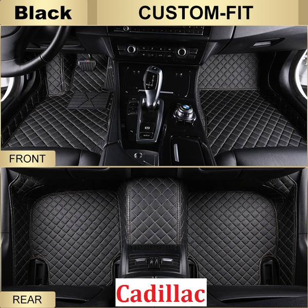 SCOT All Weather Leather Car Floor Mats for Cadillac SRX Waterproof 3D Anti-slip Front & Rear Carpet Custom-Fit Left-Hand-Driver-Model